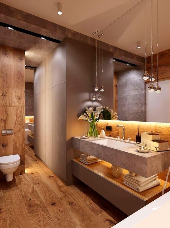 Madeira e pedras naturais no banheiro